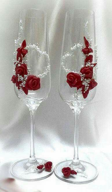 Red decorative stemware