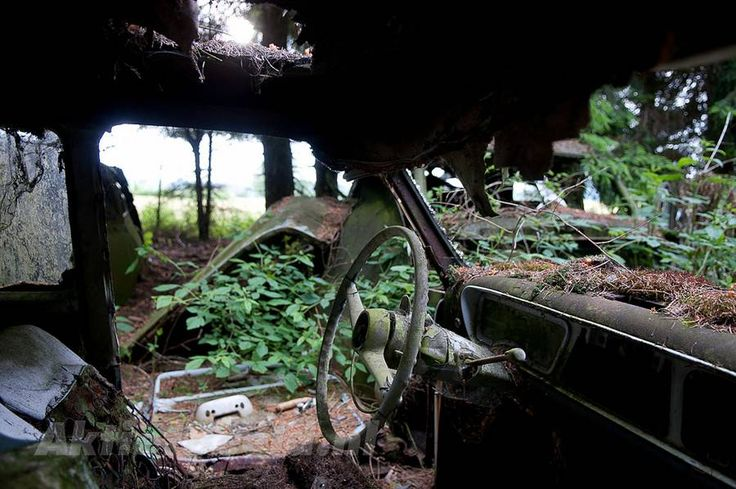 Abandoned car cemetery in Chatillon