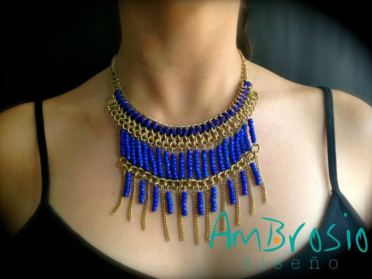 Blue Beaded Golden Necklace Blue Accesories $19.00