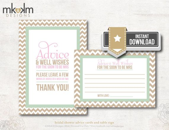 Advice and Well Wishes Chevron Bridal Shower Bridal by MKKMDesigns
