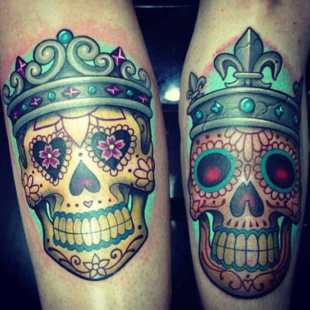 Colorful Painted King and Queen Skull Tattoos