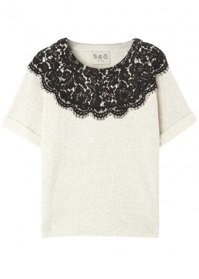 Monochrome lace and jersey top - Women