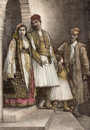 Traditional costumes from the Chamëria region (South Albania), late 19th century.