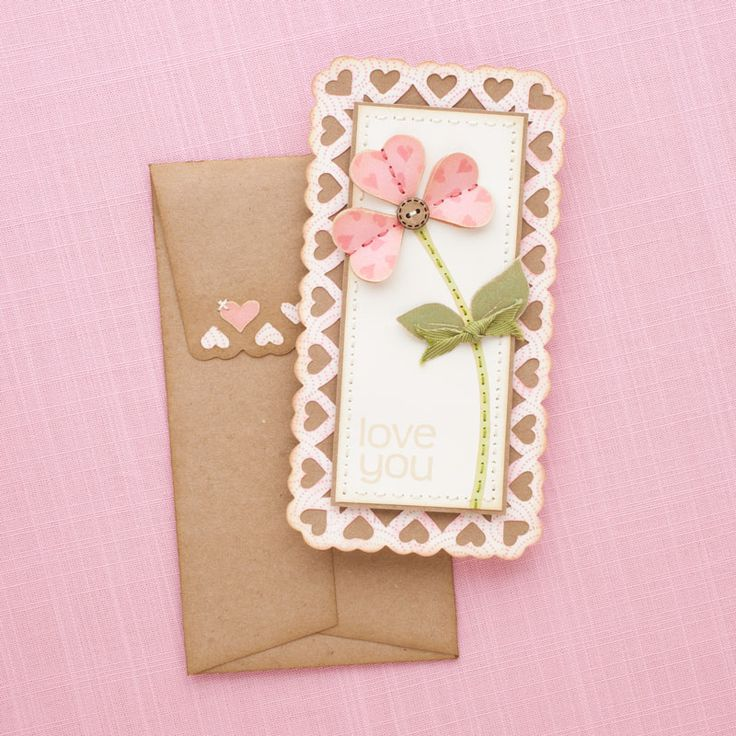How to use the Cricut® Artiste cartridge to create a card with heart scallop border and coordinating envelope. #CTMH
