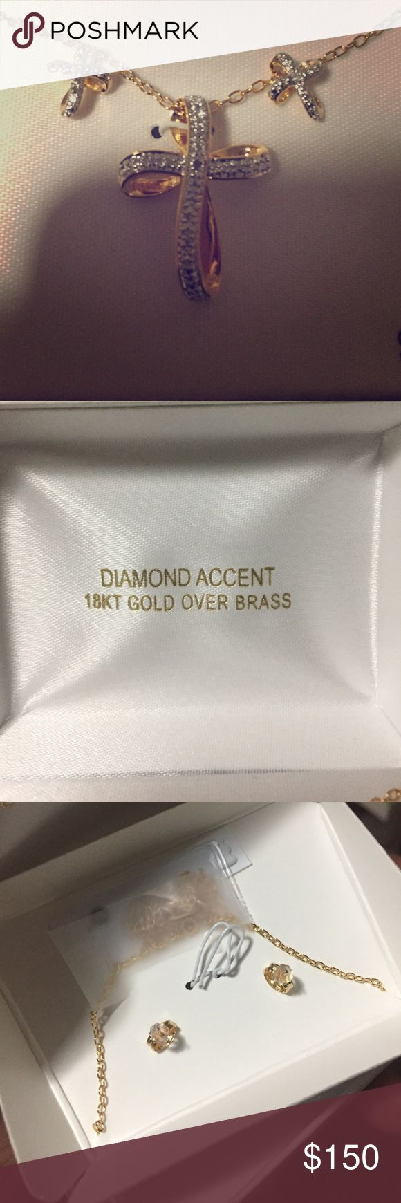 Gold Diamond Necklace & Earrings Set 💎 💯% Real Gold ! Very beautiful and a great gift 🎁 😍😍😍 BRAND NEW IN BOX *willing to accept reasonable offers* Jewelry Necklaces
