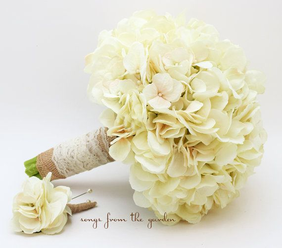 Wedding Bouquet Cream Silk Hydrangea Burlap Lace Groom's Boutonniere Rustic Ivory Silk Flower Bridal Bouquet - Ivory Silk Hydrangea