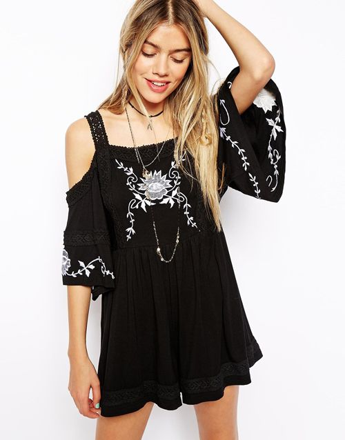 ASOS Embroidered Playsuit with Cold Shoulder, $106.41
