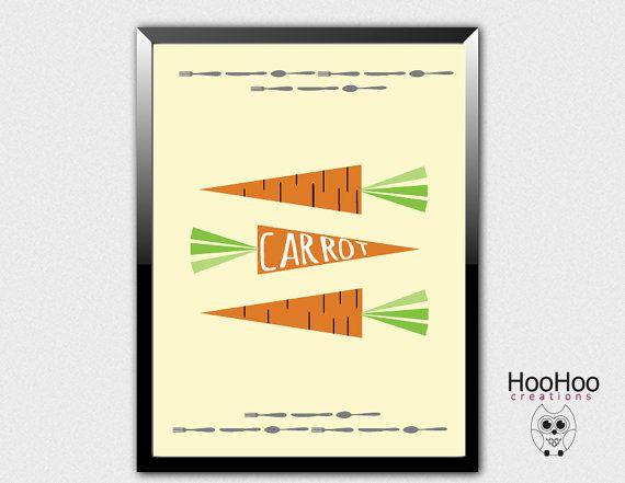 Carrot poster vegetables poster veggie poster by HooHooCreations