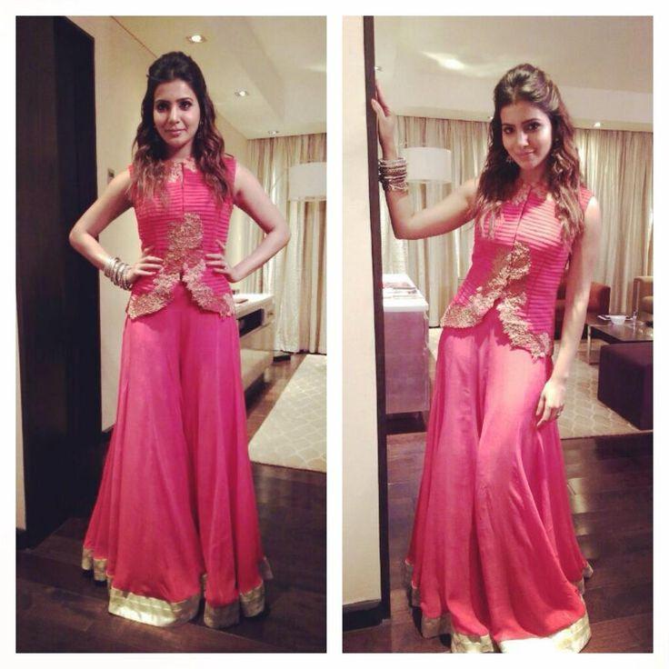 Samantha Prabhu wearing a peach textured jacket with a sharara both by Ridhi Mehra