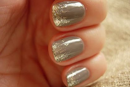 Gray and Gold Glitter  Perfect glittering from tip down. Not sure of colour combination though..