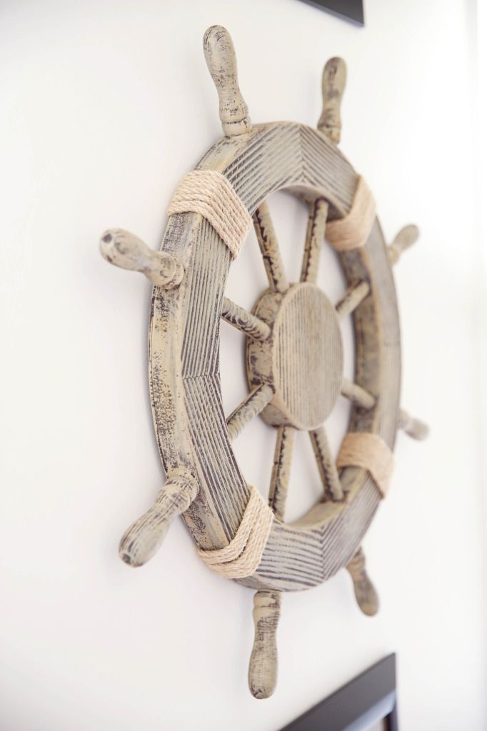 Nautical Nursery Decor - we love this ship steering wheel as wall decor from @hobbylobby!