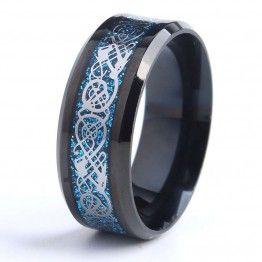 MONLA 316L Stainless Steel Black Dragon Blue Carbon Fiber Wedding Ring