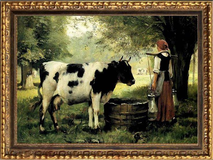 Vintage Milk Cows Old Master Art Antique Oil Painting