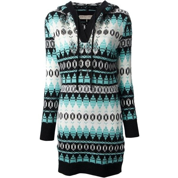 Emilio Pucci zig zag pattern knitted dress ($1,050) ❤ liked on Polyvore featuring dresses, blue, multi colored dress, blue dress, emilio pucci, multi-color dress and zig zag dress