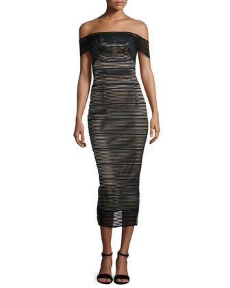 Stretch-Bandage Midi Dress, Black by Rachel Gilbert at Neiman Marcus.