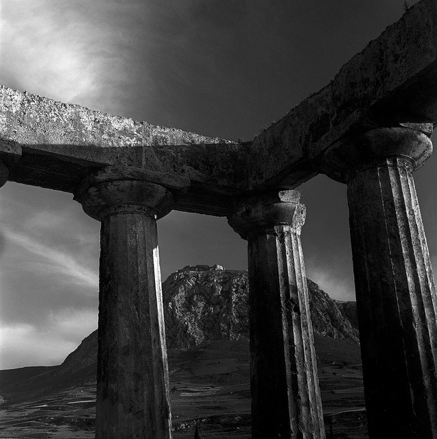 corinth, greece  may 1959  temple of apollo and the acrocorinth - photo by Nick DeWolf