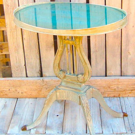 Vintage Oval Harp Side Table By CampbellGirlsDecor On Etsy