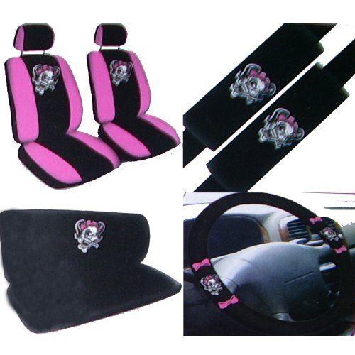 11PC Pink Lady Skull Auto Accessories Interior Combo Kit