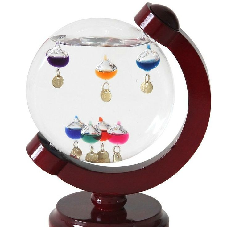 Round Galileo Thermometer with 7 Multi Color Floats - Galileo Thermometer