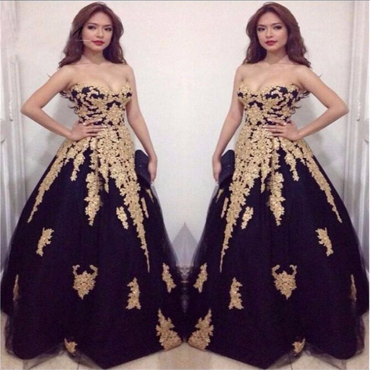 >> Click to Buy << 2017 Black Gold Ball Gown Prom Dresses Long Sweetheart Princess Beaded Lace Teen Formal Prom Party Gowns New Arrival Custom Made #Affiliate
