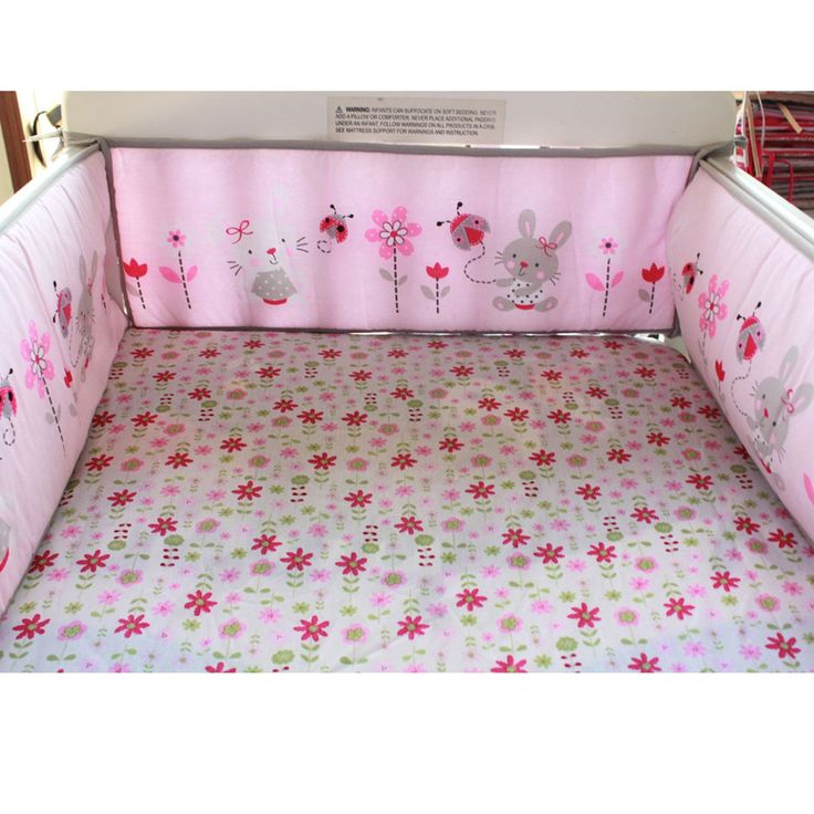 4Pcs Rabbit Baby Infant Cot Crib Bumper Safety Protector Toddler Nursery Set