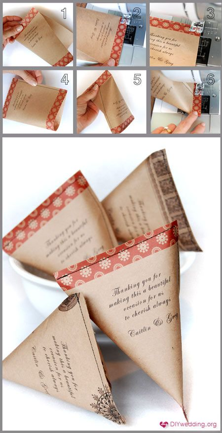 DIY Favor Bag, could print wedding or birth announcement and fill.