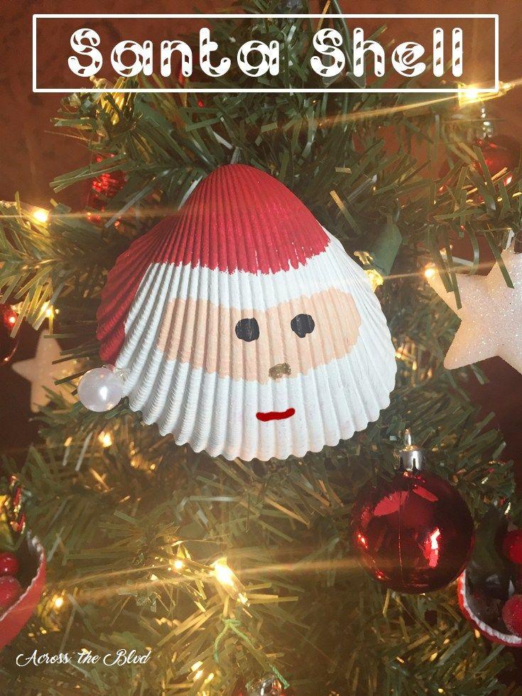 Santa Shell Ornament Across the Blvd #2016OrnamentExchangeBH