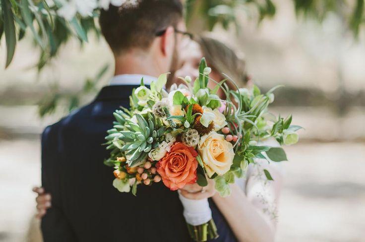 Wildflora - Ventura Blvd. Studio City. Los Angeles. Wedding and event  floral arrangements, flower and foliage bouquet design. Succulents, Air Plants, Orange and Yellow Roses, Scabiosa Pod.