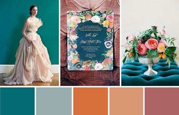 Teal and Orange Wedding Colour Palette see more on www.onefabday.com