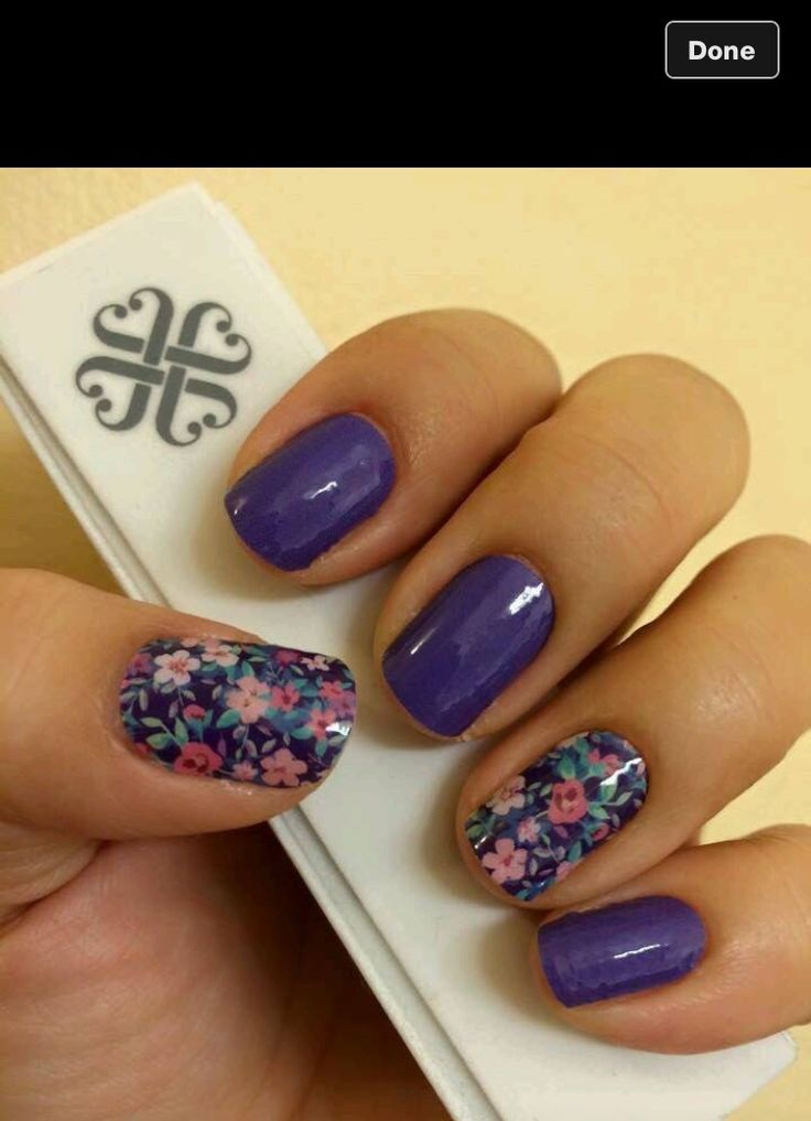 Floral and Purple Nails