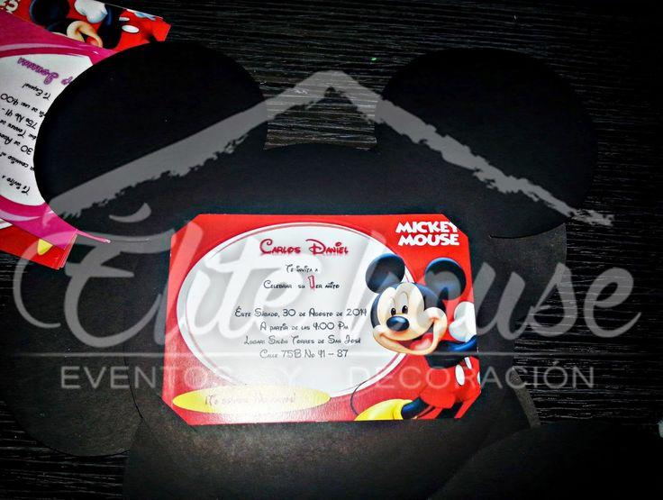Tarjeta de Invitación Mickey Mouse Elite house, eventos y decoraciones.  Barranquilla, Atlántico  Fb: www.facebook.com/elitehousebq  Instagram: elitehousebq  Web: www.elitehousebq.blogspot.com.co