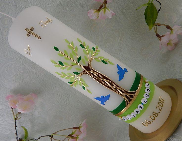 Taufkerzen - Taufkerze Lebensbaum - ein Designerstück von Lenz-Kerzen bei DaWanda