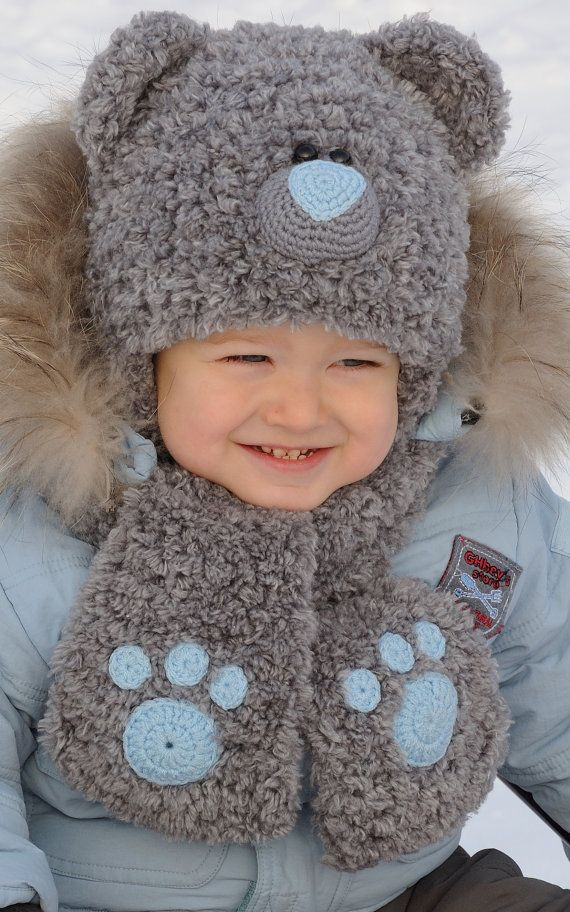 Kniting Teddy Bear Hat Hat Character Boy hat by MeetBestKnit                                                                                                                                                                                 More