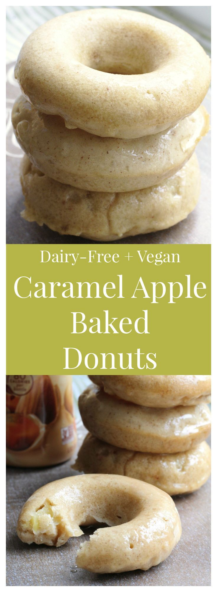 Caramel Apple Baked Donuts – Start your day off right with these wonderful dairy-free and vegan apple donuts with a delicious homemade caramel glaze made with @LoveMySilk! #PlantBasedGoodness [ad]