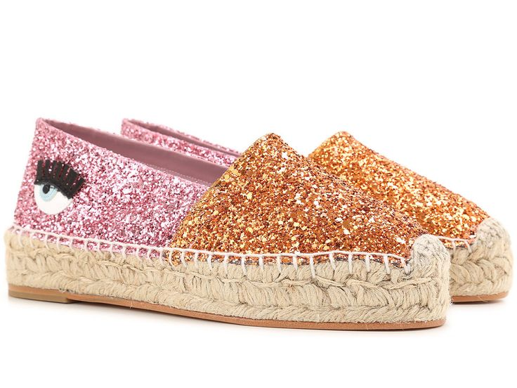 Chiara Ferragni espadrilles in orange/pink glitter - Italian Boutique €149