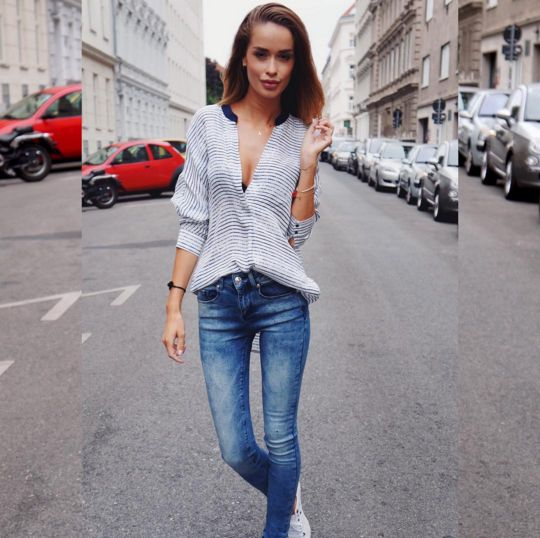 Beautiful blogger #TatjanaKreuzmayr wearing #Pieszak Bea Blouse #Pieszak