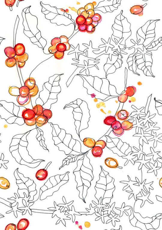 coffee pattern for textile, fashion or whatever. https://www.facebook.com/onebeecraft/