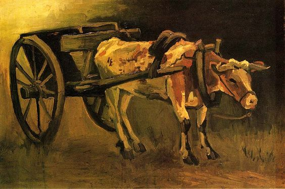 Cart with Red and White Ox (1884) by Vincent van Gogh (b. 30 March 1853, Groot-Zundert, the Netherlands – d. 29 July 1890; Auvers-sur-Oise, France) Oil on canvas. Kröller-Müller Museum, Otterlo, The Netherlands https://en.wikipedia.org/wiki/Vincent_van_Gogh