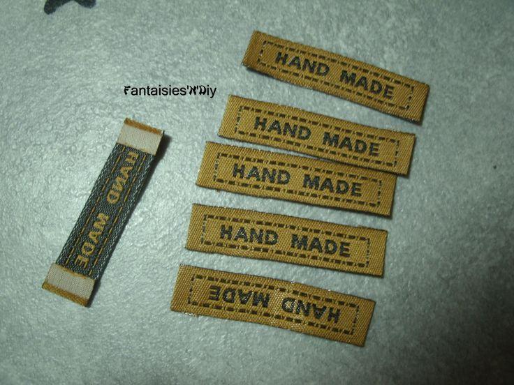 """(PAC2) Lot de 10 étiquettes à coudre """"HandMade"""" ->""""Fait main"""" brunes 4.5cm : Déco, Customisation Textile par fantaisies-n-diy"""