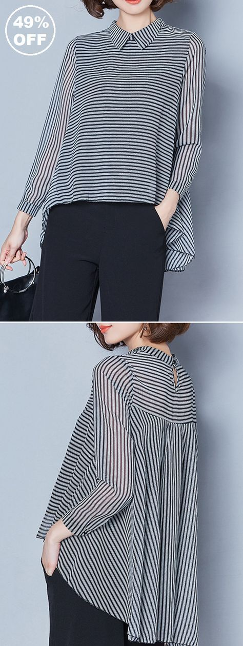 UP TO 49% OFF! Casual Stripe Irregular Lapel Long Sleeve Blouses For Women. SHOP NOW!