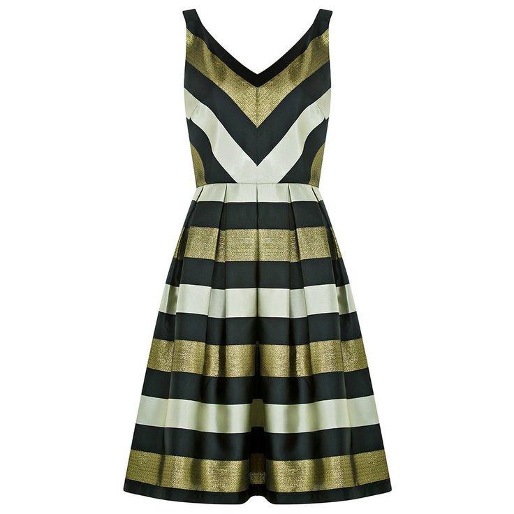 Louche Etheal Stripe Dress  Party dress - metallic - gold - silver - striped - stripes - lurex