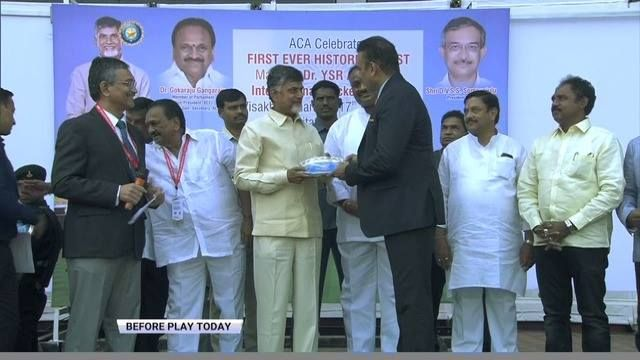 Watch Former India and England players being felicitated by Andhra Pradesh CM, N Chandrababu Naidu before start of play today #INDvENG