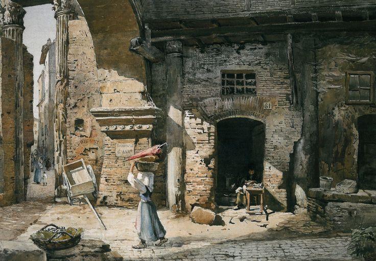 Ettore Roesler Franz - L'interno del Portico d'Ottavia, 1887