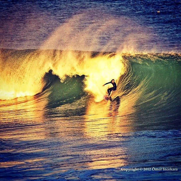 Sunset surfing at Bondi Beach with some great waves. Sydney Australia