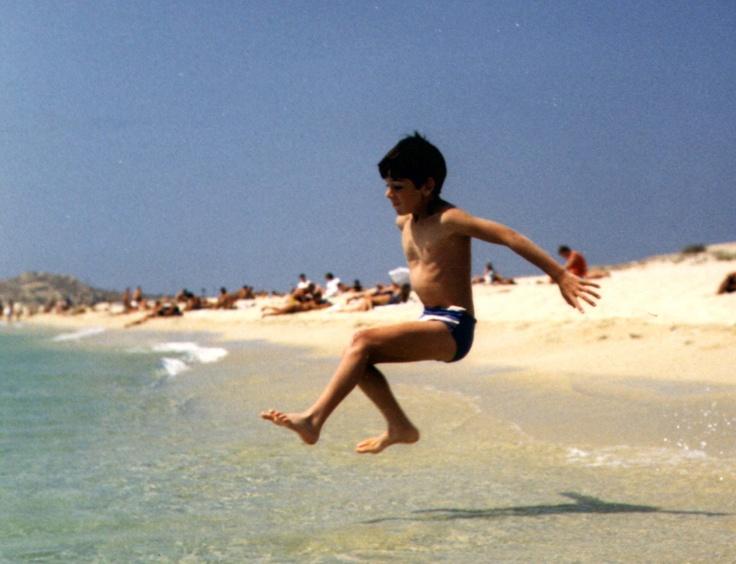 Adam leaping into the sea on Agios Prokopios beach, Naxos, cica 1984
