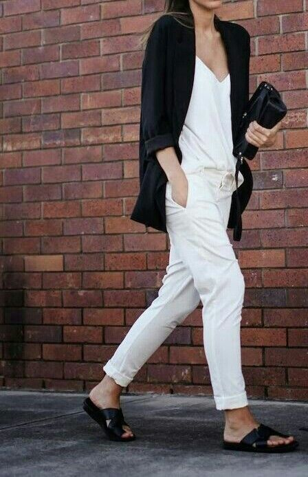 White combo - pants and shirt - black jacket - normcore style - black sandals