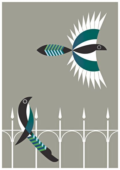 Incredible stylized birds - the wrought iron fence is a touch of genus.  Alan Nagle