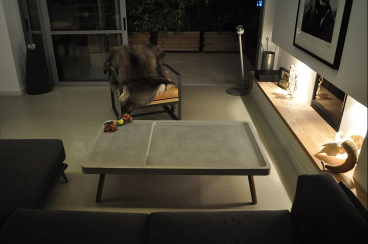 custom made cofee table, solid wood and concrete, cast concrete, oak, industrial modern, Greek interior design
