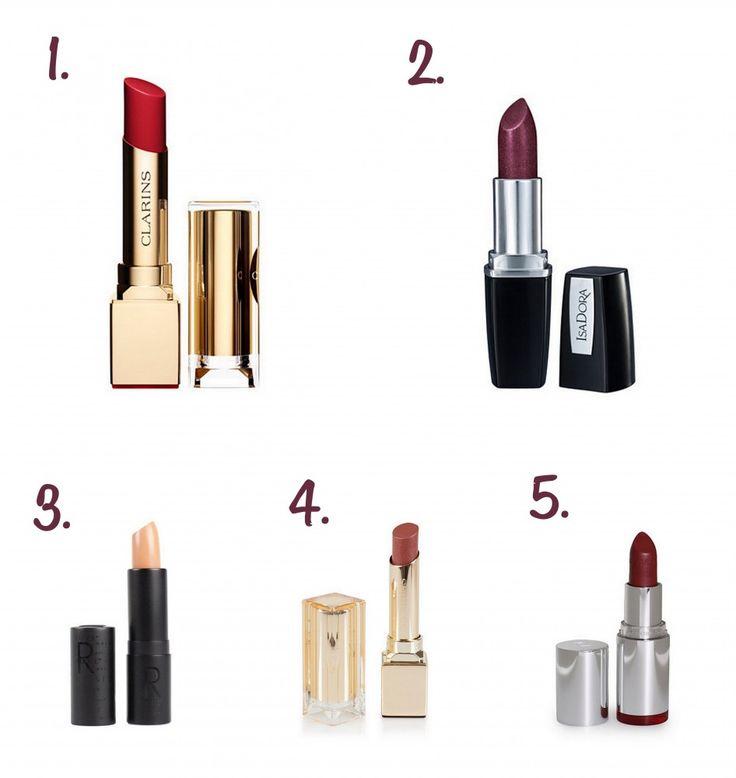 5 Lippenstiften voor een winter bruiloft | Bruidsmake-up winter bruid | Rode, paarse, bruine en nude lippenstift