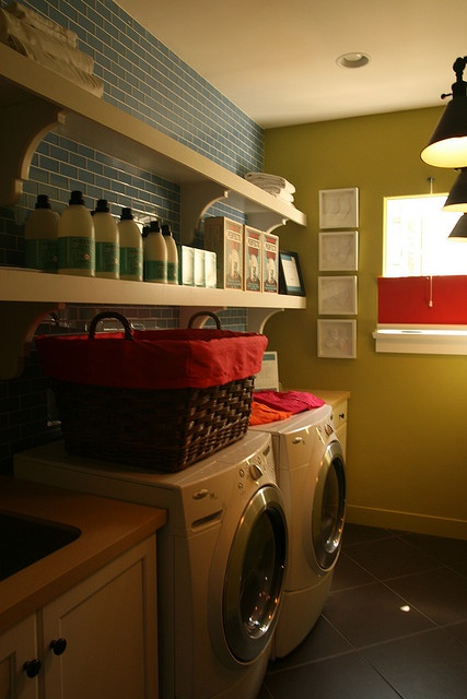 Shelves with the facia board on the front are groovy for for Open shelving laundry room